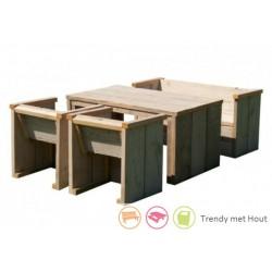 Steigerhouten-kinderset-bestaande-uit-4 stoeltjes-en-tafel-en-bankje