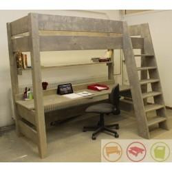 Steigerhouten hoogslaper met bureau